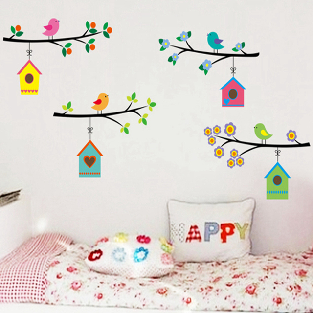 Zs Sticker Birds House Wall Stickers Girls Bedroom Home Decor For Kids Room Baby Nursery