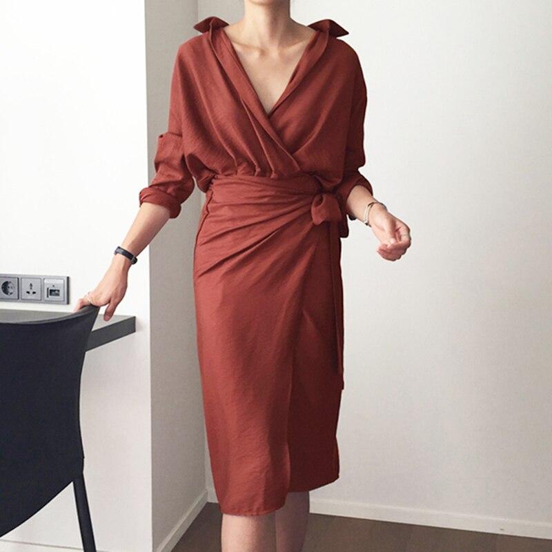 CHICEVER Bow Bandage Dresses For Women V Neck Long Sleeve High Waist Women's Dress Female Elegant Fashion Clothing New 19 15