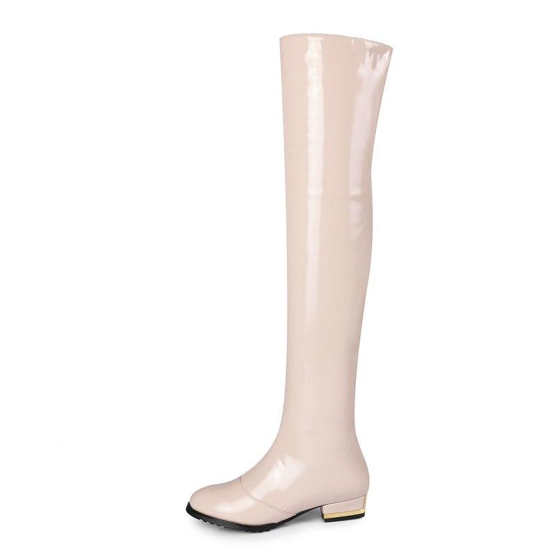 특허 가죽 컴포트 스퀘어 힐 여자 무릎 부츠 패션 사이드 지퍼 파티 여자 허벅지 부츠 블랙 레드 살구-에서무릎위 부츠부터 신발 의  그룹 3
