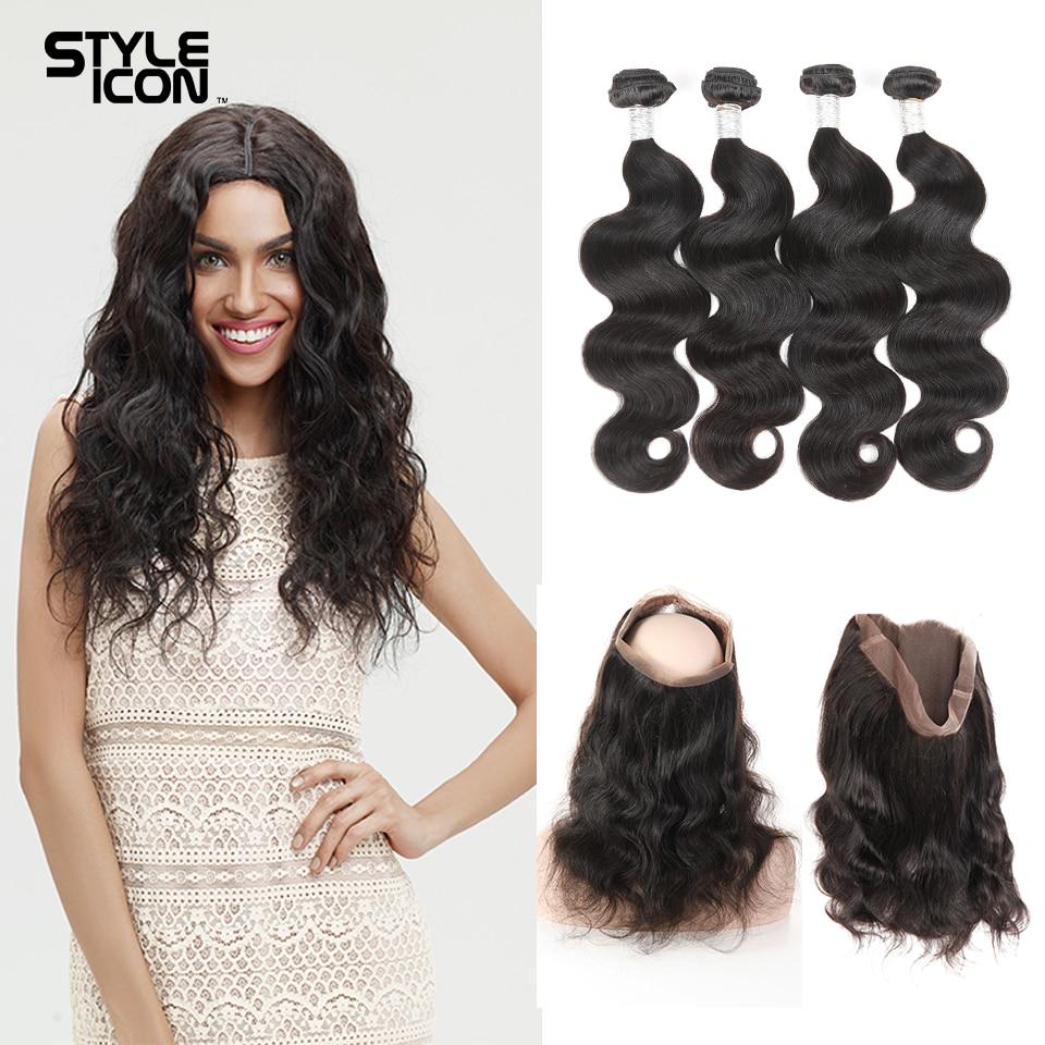 Styleicon Gelombang Tubuh Brazilian Rambut Manusia Menenun 2 3 4 - Rambut manusia (untuk hitam)