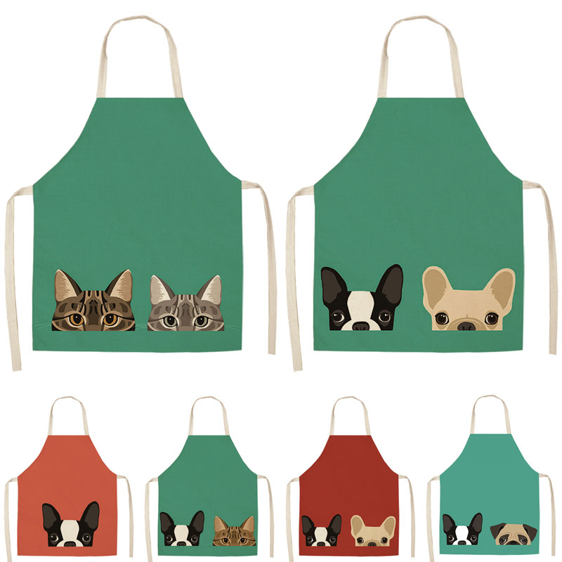 Waterproof Women Cute Dogs Cartoon Apron Cotton Linen Kitchen Cooking Aprons