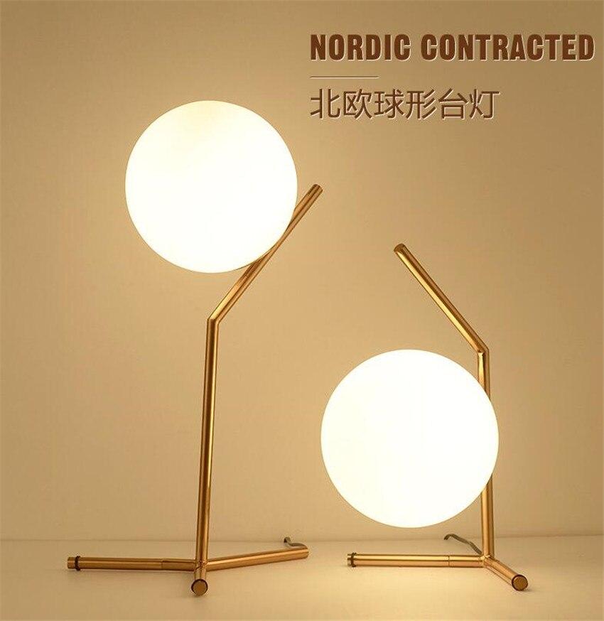 Modern creative desk lamp glass bedroom bedside round table lamp