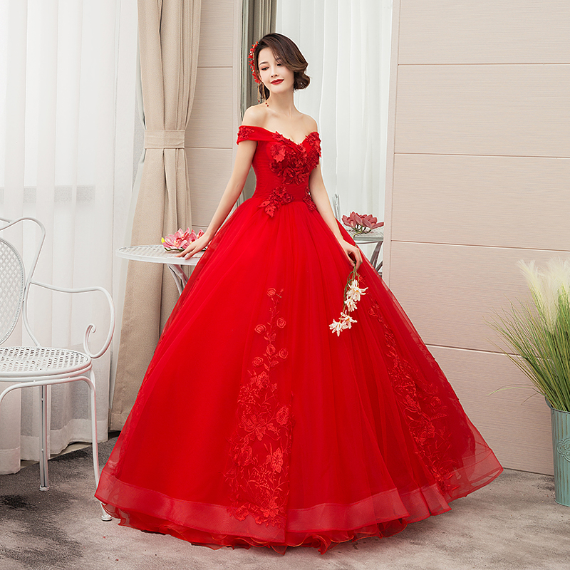 Do Dower 2019 New Red Quinceanera Dresses Elegant Off The Shoulder Lace Applique Custom Made Party Prom Quinceanera Gown L
