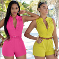 6 Colors Hot Arrival 2016 Summer Jumpsuits Bodycon Rompers womens jumpsuit Sleeveless Shorts S-XL Plus Size Bodysuit With Belt