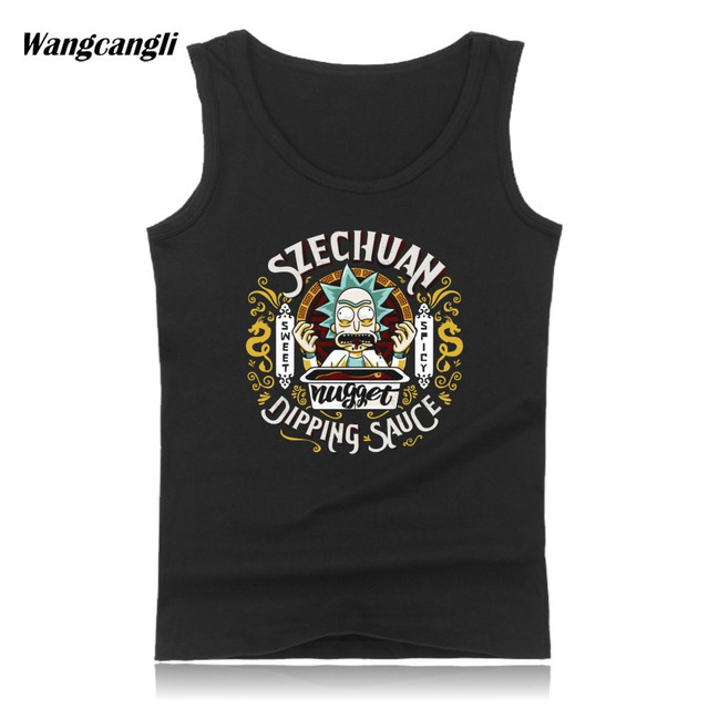 6c991f7bff0be Rick and Morty Tank Top Men Anime Cartoon Funny Summer Cotton Sleeveless  Shirt Fitness Jersey Tank Tops Vest Plus Size 4XL
