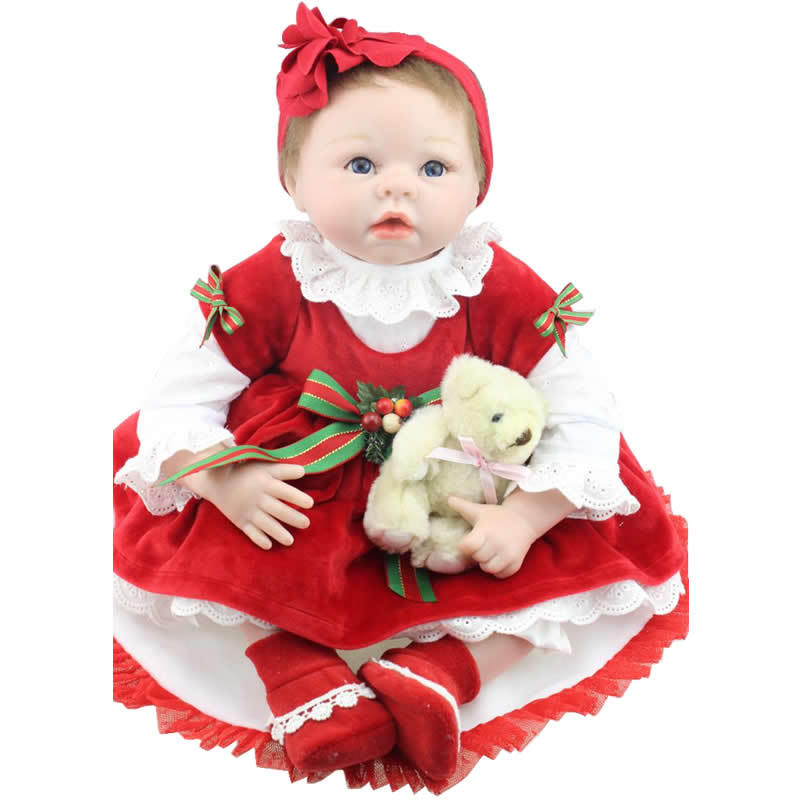 Realistic Reborn Babies Doll 22 inch Real Life Newborn Baby Doll Silicone Collectible Girl Baby Toy Xmas Gift For Kids 22 inch silicone reborn babies doll handmade newborn girl doll looking real baby reborns kids birthday xmas gift