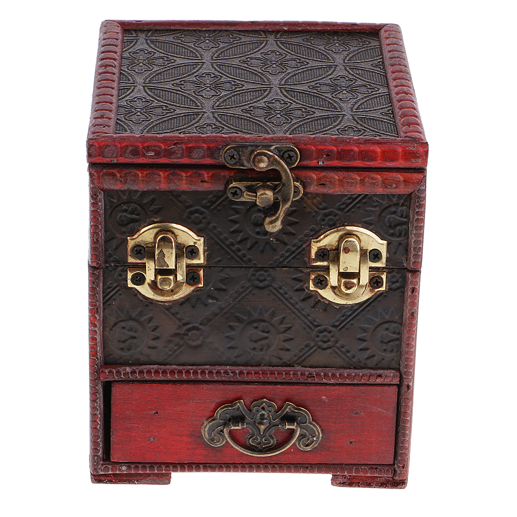 Vintage Wooden Jewelry Storage Box Treasure Chest Organizer Gifts Box 14x12cm