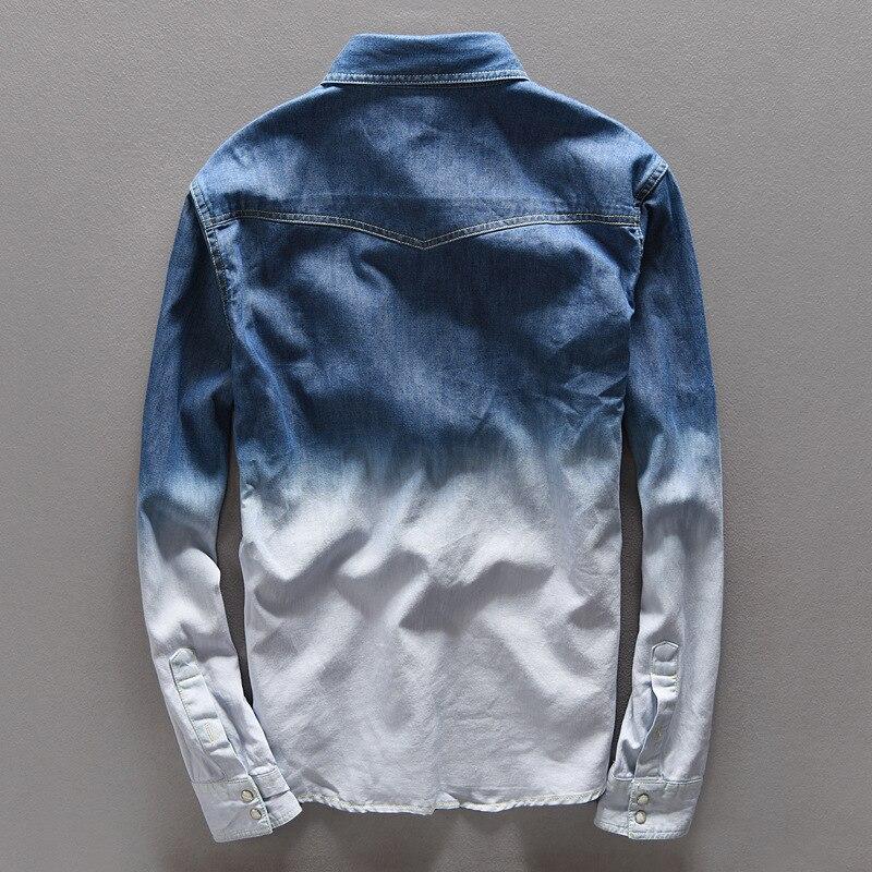 bbbeca1432 Primavera Jeans Camisa para hombre marca Casual Denim Camisa larga del algodón  de los hombres camisas para hombre otoño gradiente hombre Overhemd Camisa  ...