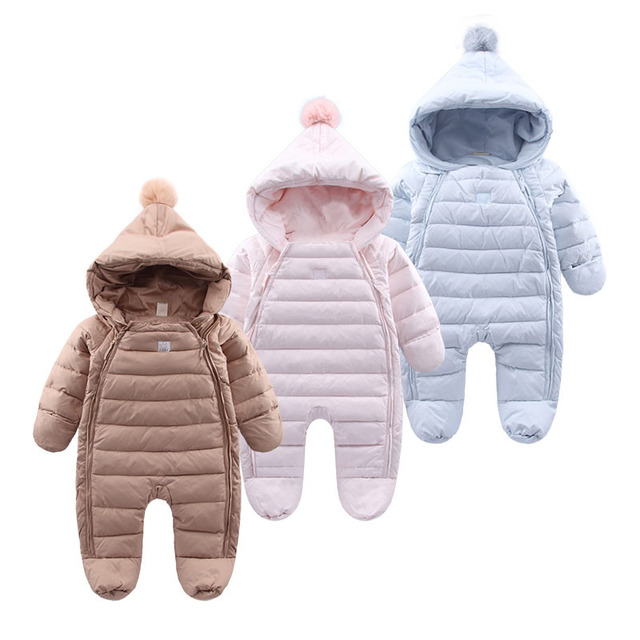 0ee2c547ac17 Baby Rompers Newborn Baby Boy Girl Thick Warm Duck Down Winter ...