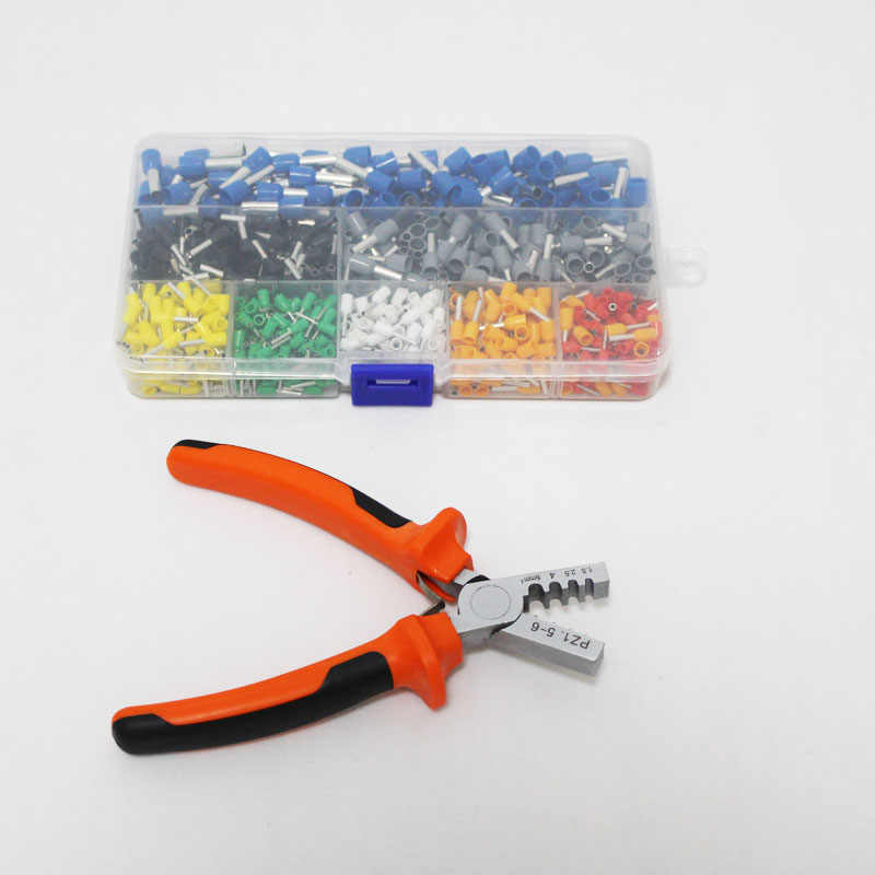 800pcs Cable Wire Terminal Connector with Hand Ferrule Crimper Plier Crimp Tool Kit Set AWG 10-23