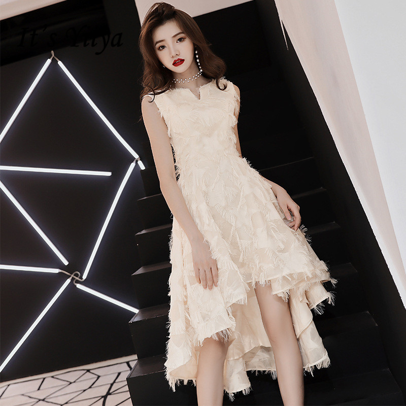 It's YiiYa   Bridesmaid     Dress   Champagne High Low Length Party   Dresses   Girls Fashion Tassel O-neck Gown For   bridesmaid   E024