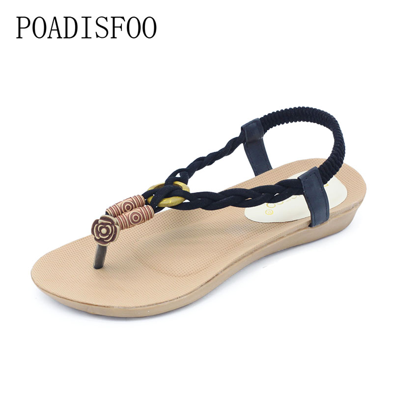 POADISFOO Fashion Casual Style Summer Bohemian Design Retro Flat Toe Sandals And Rubber Soles For Women .HYKL-A06 bohemian style beading and wedge heel design sandals for women