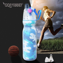 590ml Double Spray Outdoor Movement Riding Sports Water Bottle Portable Plastic ice-holding Kettle Handy Aquarius