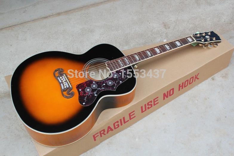Livraison gratuite en gros guitare usine de haute qualité guitare acoustique Vintage Sunburst guitare acoustique Grover Tuners.