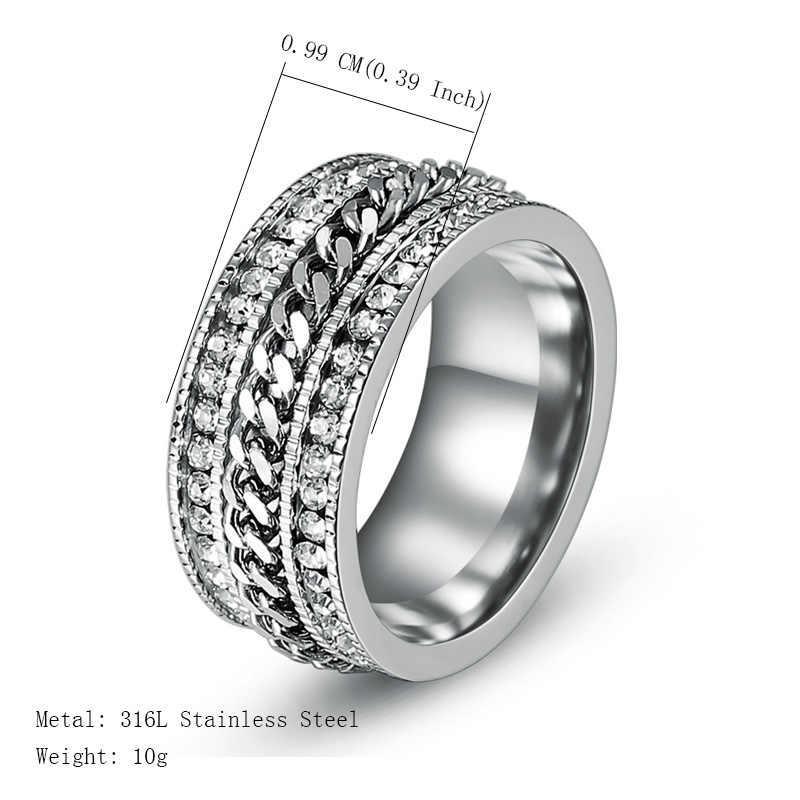 10mm anéis de aço inoxidável para homens de luxo strass cristais rotatable corrente anel moda punk masculino jóias 2019 presente aniversário