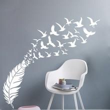 Delicate Feather Bird Decorative Vinyl Wall Stickers Bedroom Decor Decals Sticker For Kids Room Decoration Wallstickers
