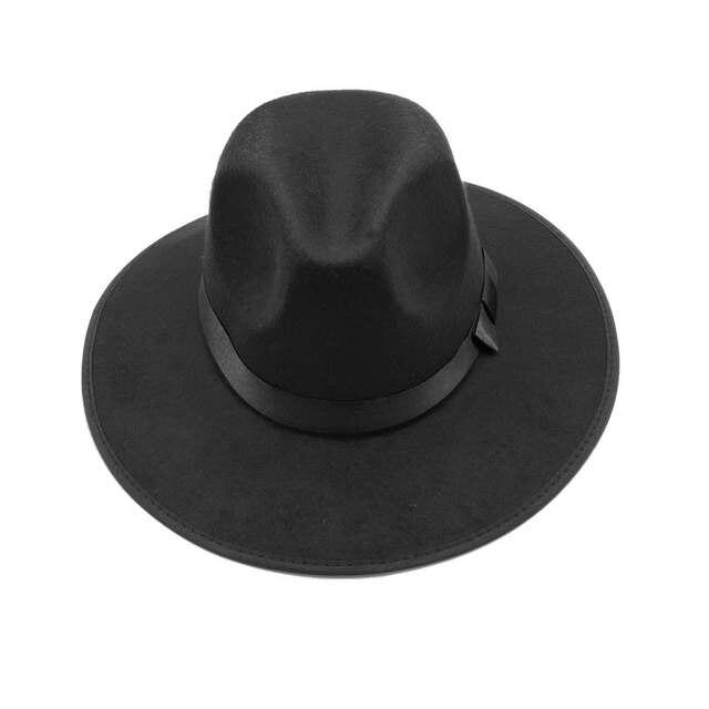 30931e7343a LUCKYLIANJI Women Men Jazz Hard Felt Bowknot Fedora Panama Bowler Wide Brim  Hat Gangster Cap (