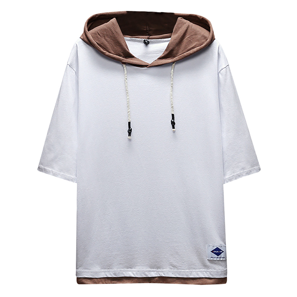 Men's Cotton Hooded Solid Color Fashion Stitching Top Summer Outdoor Casual Daily Dress Large Size Loose Comfortable Top Blouse