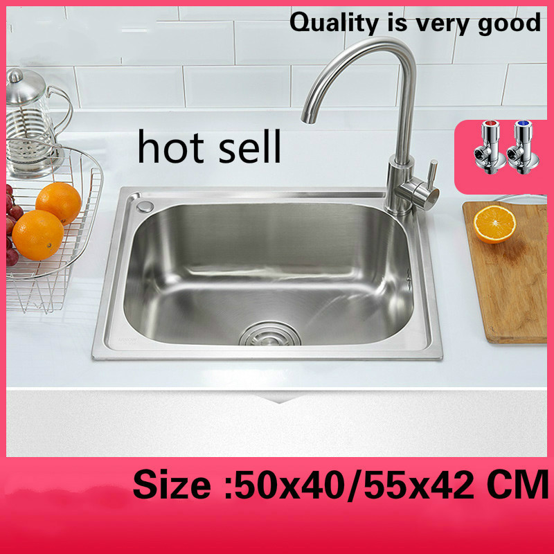 Free shipping Standard individuality balcony kitchen single trough sink 304 food-grade stainless steel hot sell 50x40/55x42 CMFree shipping Standard individuality balcony kitchen single trough sink 304 food-grade stainless steel hot sell 50x40/55x42 CM