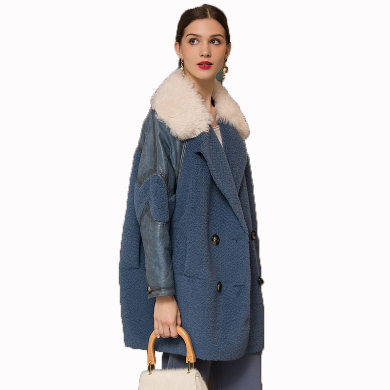 Real Fur Coat Genuine Leather Jacket Wool Coat Autumn Winter Jacket Women Clothes 2018 Korean Vintage Sheep Shearing Fur  ZT1258