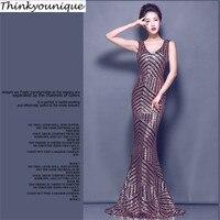2015 Free Shipping Sequined Lace Party Gowns Long Evening Dress Vestido De Festa Longo Com Renda