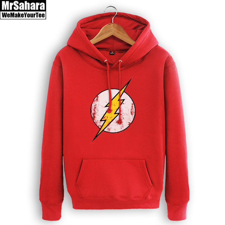 Mens Casual The Flash Hoodies Hooded Printed Cotton Pullover Sweatshirts Top Cosplay Costume