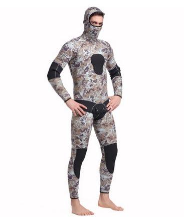 Men Hooded Neoprene 5MM Scuba Wet Diving Equipment Snorkeling Jumpsuit One piece Long Sleeved Triathlon Spearfishing Surf Cloth
