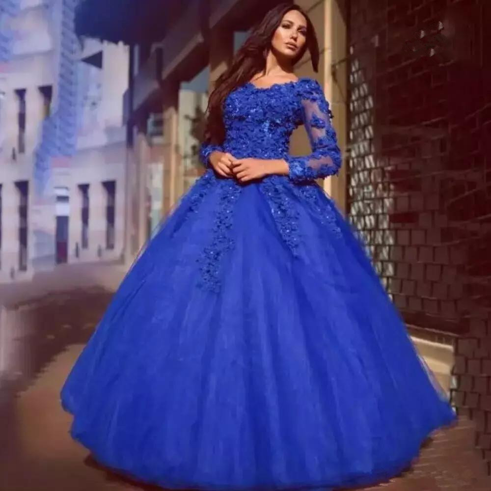 3D Flowers Quinceanera Dresses Sweet Floral Full Sleeve V-neck Party Prom Gowns