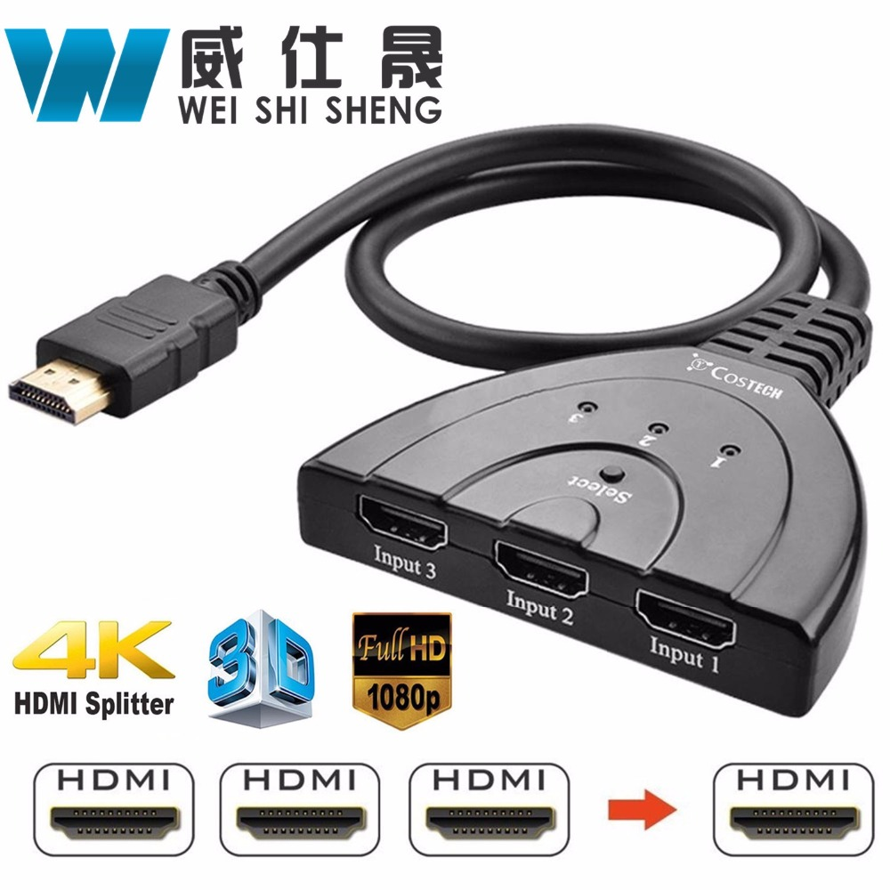 4K*2K 3D Mini 3 Port HDMI Switch 1.4b 4K Switcher HDMI Splitter 1080P 3 in 1 out Port Hub for DVD HDTV Xbox PS3 PS4 4k hdmi switcher splitter 2x8 hdmi v 1 4 3d hdmi splitter 2 in 8 out support 3840x2160 30hz for hdtv projects dvd