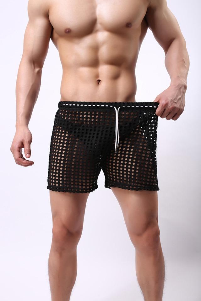 1PCS Transparent Mesh Shorts  Gay Shorts Mesh Sheer See Through Brand Sleep Bottoms Sleepwear Leisure Home Wear