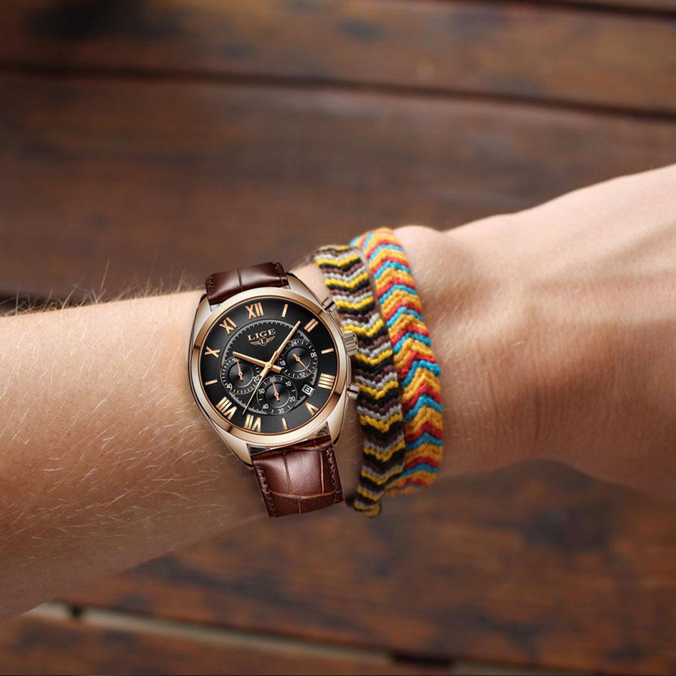 LIGE Watch For Men Top Brand Luxury Waterproof 24 Hour Date Quartz Clock Brown Leather Sports WristWatch Relogio Masculino 2019