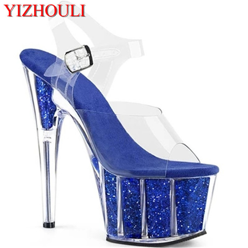The newly listed 15CM-thick high heels, sequined waterproof platform, fashionable womens shoes, sexy sandalsThe newly listed 15CM-thick high heels, sequined waterproof platform, fashionable womens shoes, sexy sandals