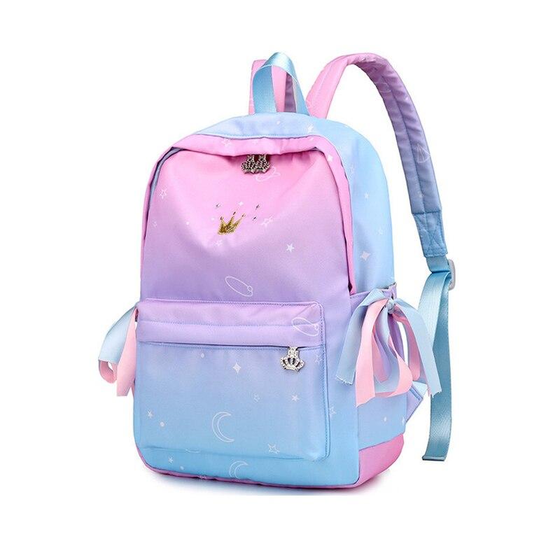 Image 2 - Starry Sky Backpacks For Girls School Children Schoolbags Primary School Book Bag School Bags Women Backpack Sac Ecolier Pink-in School Bags from Luggage & Bags