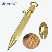 ACMECN2019 New Arrival 90mm Mini Pocket Ball Pen with key ring Pure Brass Ballpoint Gun Style Hexagonal Copper Tactical Pens