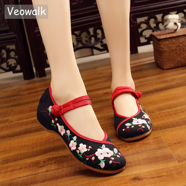 9d3b926673a Veowalk Handmade Peach Flower Embroidered Women s Canvas Ballet Flats  Vintage Chinese Ladies Casual Old Beijing Buckles Shoes