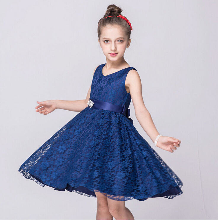 купить Formal Bow Lace Wedding Bridesmaid Ball Gown Girl Dresses 2-14 Years 2016 Pageant Flower Girl Dress Kids Clothing Birthday Party дешево