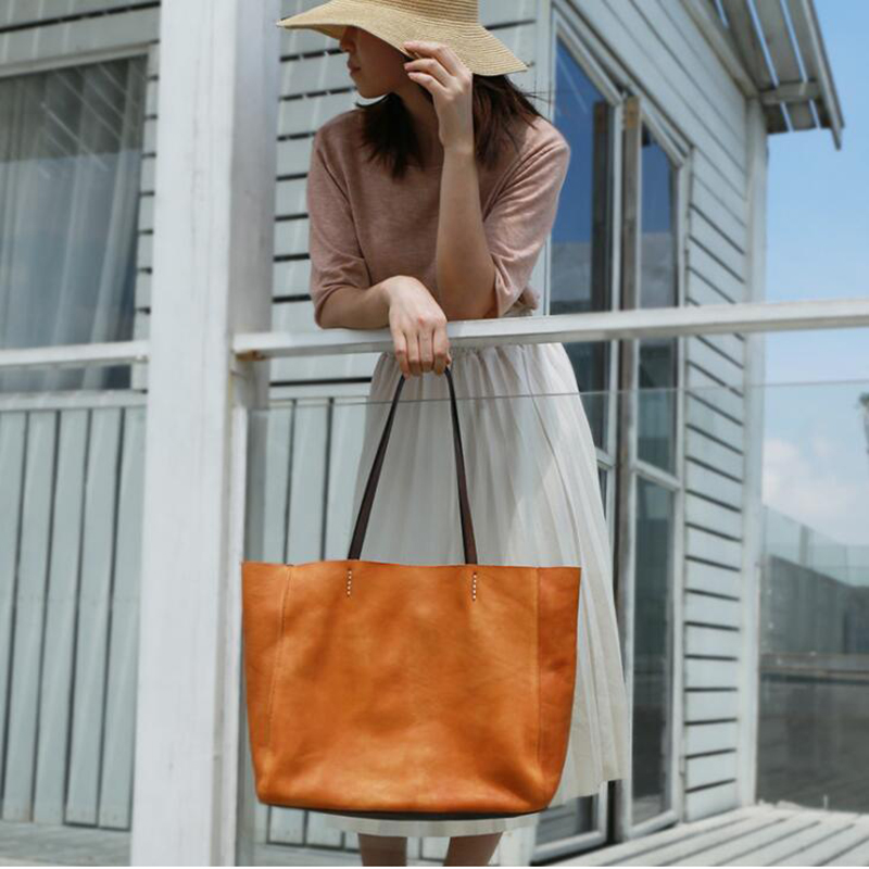 Super Soft 100 Leather Top handle Bag Manual Natural Cowhide Women 14 Laptop Bags Vintage Large