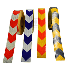 5cmx30m  Reflective warning tape with red white yellow black and blue color arrow printing for car