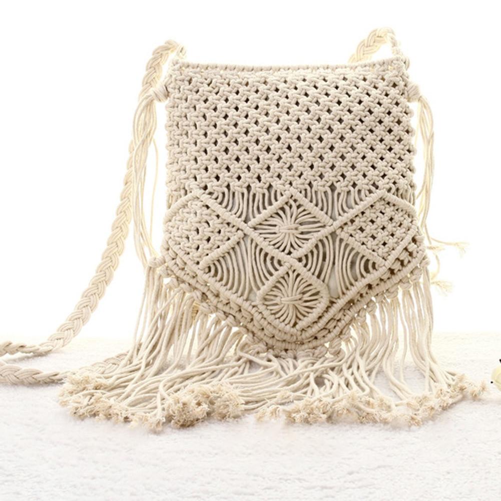 FGGS-New Straw Bag Bohemian Tassel Beach Bag Women Crochet Fringed Crossbody Ultralight Shoulder Bag Women Small