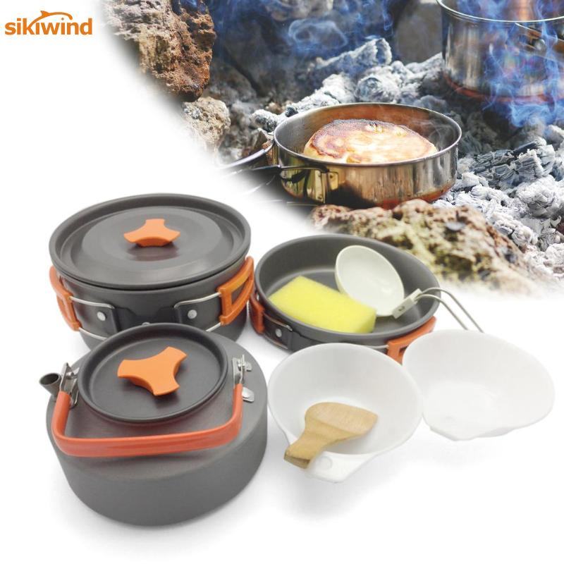 8pcs/set Portable 2-3 Persons Cookware Bowl Pot Spoon for Outdoor Camping Hiking Backpacking Travel Tableware Picnic Accessories цена
