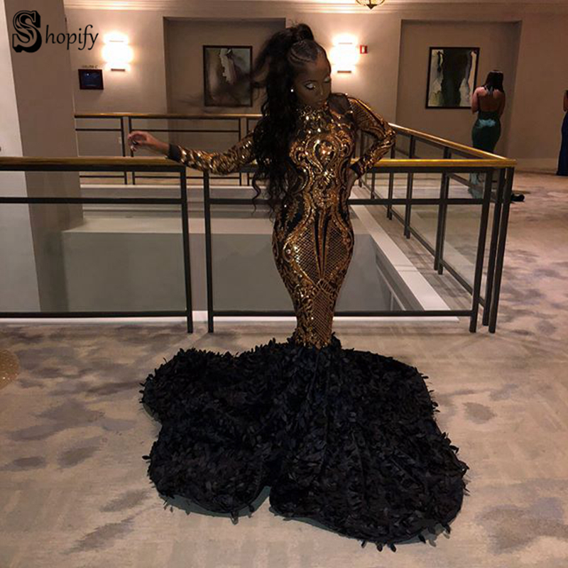 Sparkly Long Sleeve Sexy Mermaid High Neck African Black Girl New Arrival Women Gold Sequin   Prom     Dresses   2019
