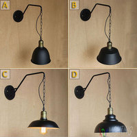 Vintage Black Iron Wall Lamp Flute Wall Lights Edison Bulb Fixtures Retro Loft Bar Iron Industrial