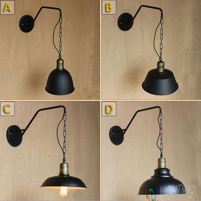Vintage Black Iron Wall Lamp Flute Wall Lights Edison Bulb Fixtures Retro Loft Bar Iron Industrial chain hanging sconces luzes mordern nordic retro edison bulb light chandelier vintage loft antique adjustable diy e27 art spider ceiling lamp fixture lights