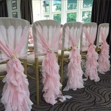 Marious wedding chair hood 50pcs chiffon  sashes ruffled curely cover free shipping