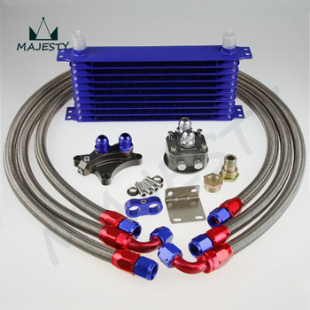 10 ROW OIL COOLER KIT FOR  Silvia S13 S14 S15 180SX 200SX 240SX SR20DET BLUE