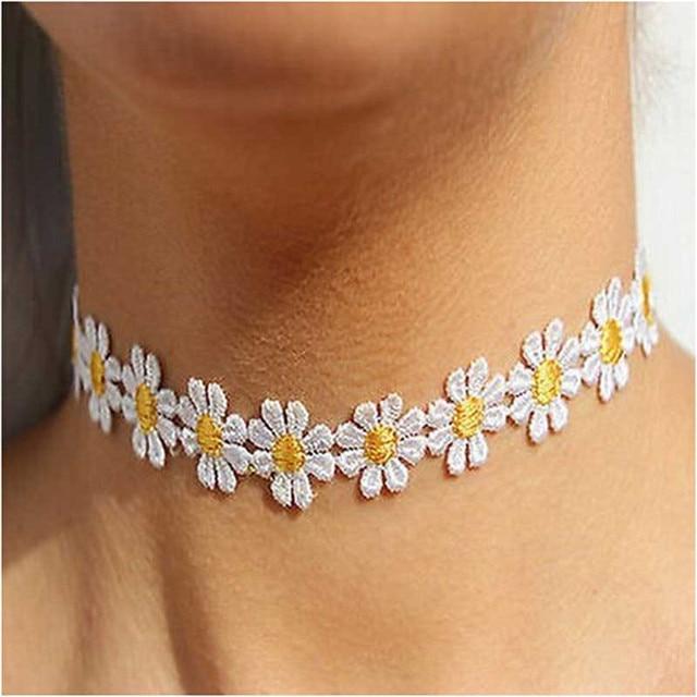Necklaces & Pendants Otoky Hot Fashion Delicate Daisy Flower Choker Chain Necklace Yellow & White Boho 80s 90s Apr28 by Otoky