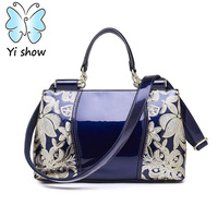 YISHOW British Style High Grade Paint Ms Portable PU Leather Handbag Brand Bags Crystal Package Women