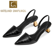 KATELVADI 2019 Women Sandals 5CM Thick Heel Black PU Chicl Female Summer Shoes K-400