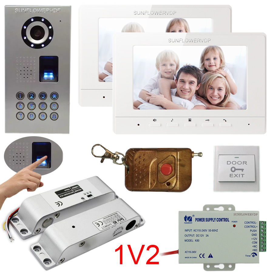 Fingerprint Code Home Video Door Phone IP65 Camera With Wireless Remote Control Video Intercom +Electric Mortise Drop bolt lock