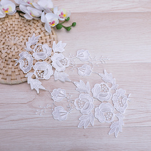 20Pieces White Lace Applique 25x15cm DIY Trim Collar Flower Floral Embroidered Polyester Accessories Sewing Fabric